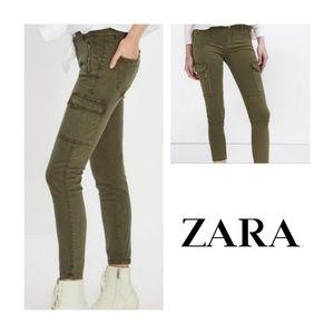 Zara Woman Army Green Cargo Skinny Moto Jean